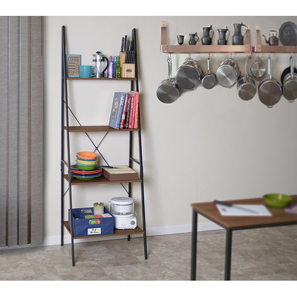 """Urban Ladder Kitchen Shelf: Niche Soho 72"""" Ladder Bookcase- Urban Walnut"""