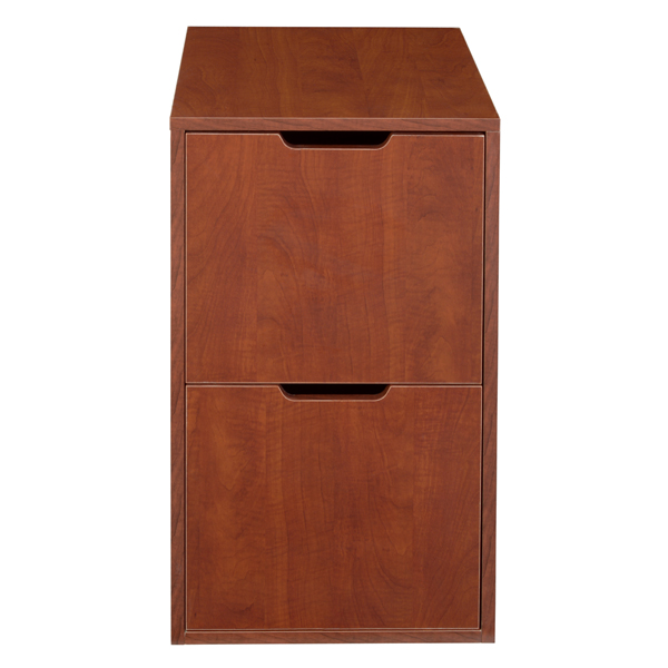 Niche Mod Freestanding Pedestal Two Drawer Filing Cabinet White Wood Grain