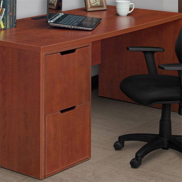 Niche Mod Freestanding Box-File Pedestal with No with No-Tools Assembly Cherry